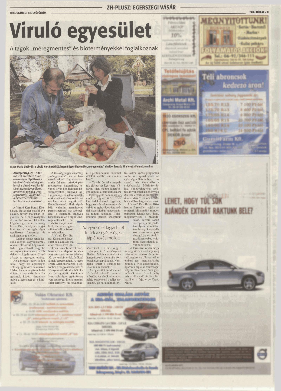 """BIONÖVÉNYTERMESZTÉS újságcikk: Ételünk az életünk ..... - """"Viruló Kert"""" Baráti Egyesület"""