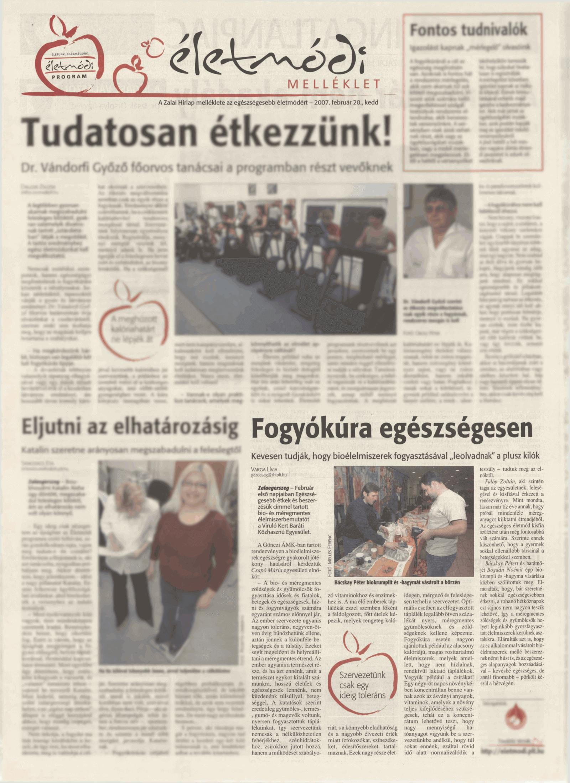 """MÉREGMENTES ÉTREND újságcikk: Szervetünk csak egy ideig toleráns ..... - """"Viruló Kert"""" Baráti Egyesület"""