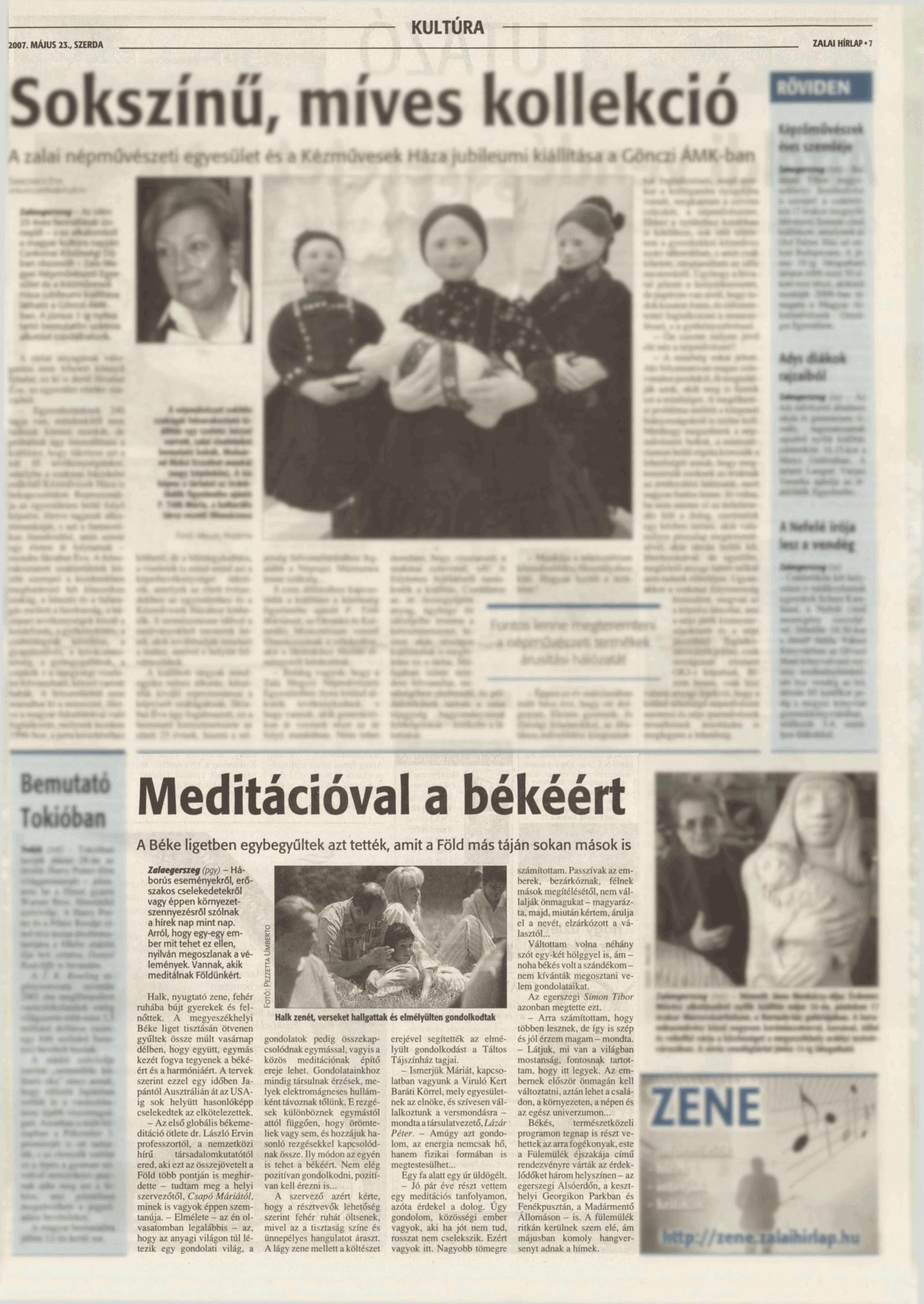 """GLOBÁLIS újságcikk: A meditációban békét teremtünk magunkban, és együtt meditálva a világban ..... - """"Viruló Kert"""" Baráti Egyesület"""