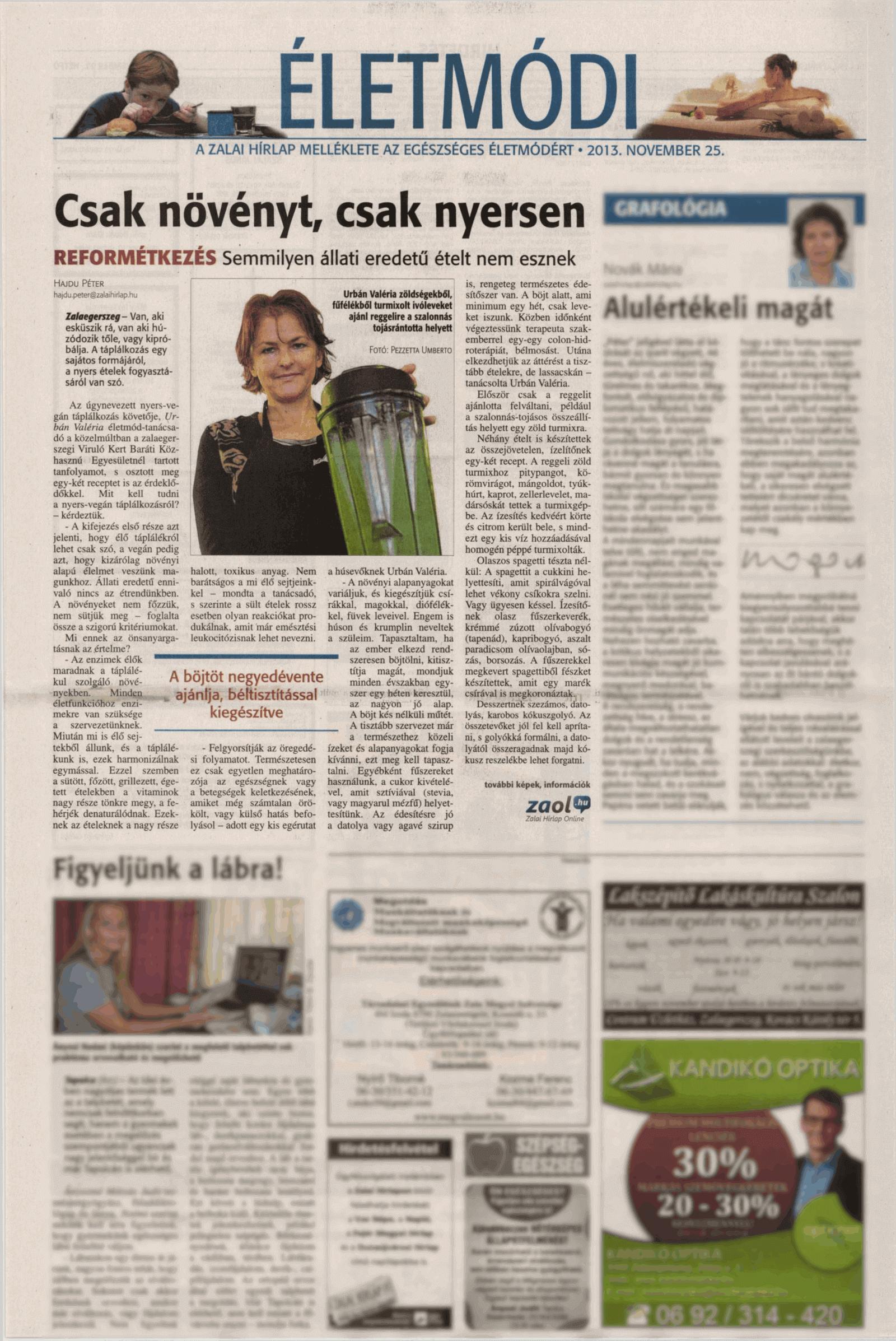 """REFORMÉTKEZÉS újságcikk: Tanácsok a vegán táplálkozásra átállóknak ..... - """"Viruló Kert"""" Baráti Egyesület"""